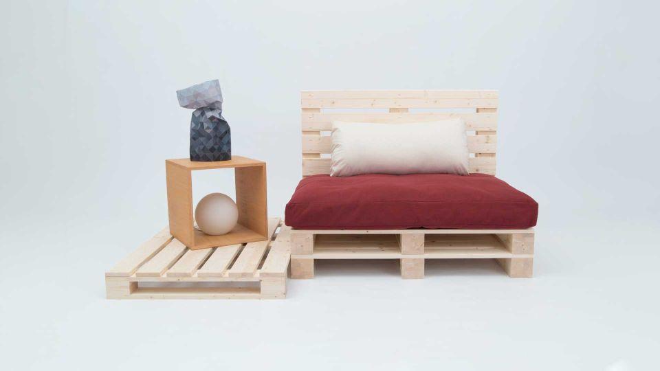 Bett Palette; unbehandelt; 4er Pack|Sitzecke aus Paletten