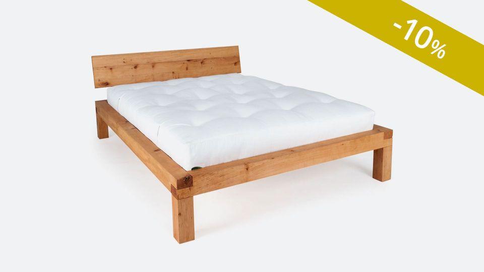 Bett YAK; metallfreies Massivholzbett; vorzüglich geeignet für Futons|Metallfreies Bett YAK aus massivem Zirbenholz