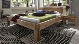 Bett Baumkante mit Kopfteil auch ohne Kopfteil erhältlich|Massivholz-Bett Baumkante in Wildeiche