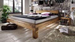 Bett Balkeneiche - aus massivem Eichenholz gefertigt. Matratze, Bettzeug und Lattenrost nicht im Lieferumfang enthalten.